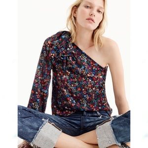 J. Crew Star Print One-Shoulder Blouse Top